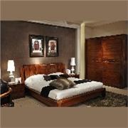 柏森乌金木四件套卧室套装床+床头柜+衣柜