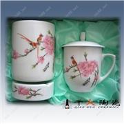 供��陶瓷�k公用品三件套,陶瓷茶杯、��缸、�P筒