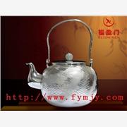 供应纯银茶具 日式银壶 福盈门TL018珠盖云彩纹纯银烧水壶